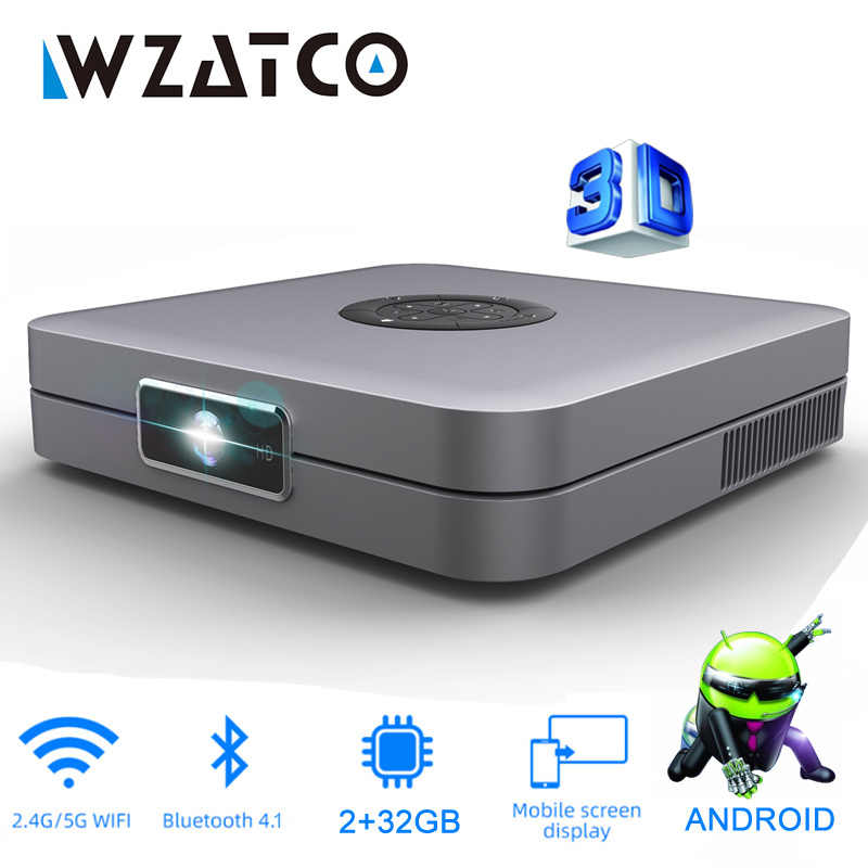 WZATCO D1 DLP 3D Proyektor 300 Inci Home Cinema Support Full HD 1920X1080P,32GB Android 5G WIFI AC3 Video Proyektor MINI Proyektor