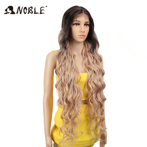 Image 2 - Perucas sintéticas de cosply da onda profunda longa americana cor de rosa da peruca da parte dianteira do laço sintético nobre ombre peruca loira 42 polegada