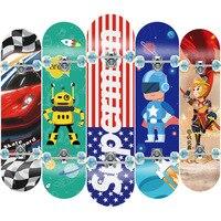 Children Skateboard Alloy Roller Board Four Wheel Skate Board Kid Scooter Longboard Pulley Wheel Double Snubby Maple Skateboard