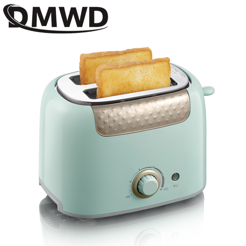 DMWD Household Toaster With 2 Slices Slot Automatic Warm Multifunctional Breakfast Bread Baking Machine 680W Toast Maker EU US