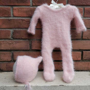 infant Photoshoot Set Stretch Hand Knitted Baby Mink Fur Jumpsuits Infant Coveralls with Hat for Newborn Infant Photography Accessories