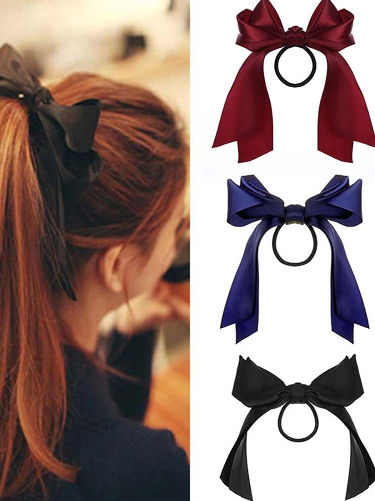 Elastic Hair Bands-Accessories Ribbon-Bow Scrunchies Ponytail Bow-Knot Girls Korean Long