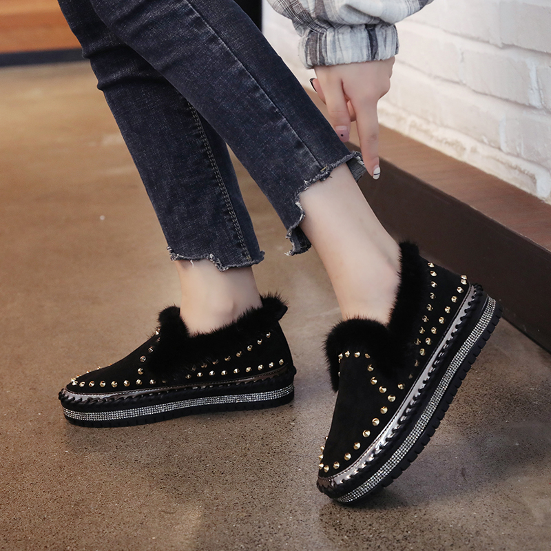 2019 Winter New Women Fur Loafers Comfortable Casual Platform Sneakers 54