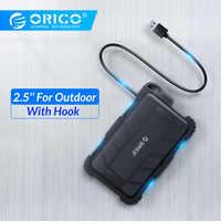 ORICO 2,5 pulgadas USB3.0 HDD funda Triple protección con gancho para exterior impermeable a prueba de golpes a prueba de polvo caja de disco duro para HDD SSD