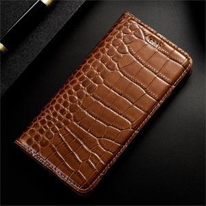 Image 2 - Luxo crocodilo genuíno caso de couro da aleta para apple iphone 11 pro max negócios telefone celular capa carteira