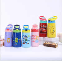Stainless Steel Children Insulated Cup Students Straw Bottle Nipple Glass Cute Cartoon Men's Cup Handle Large-Volume Kettle