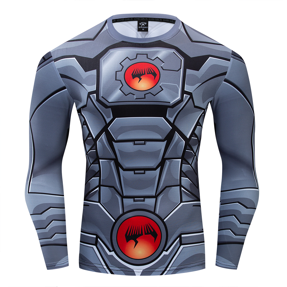 DC Superhero Cyborg New 52 Uniform Costume Premium 3D Printed Costume Compression T-shirt Finess Gym Quick-Drying Tight Tops