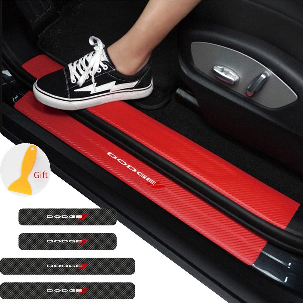 4PCS Auto Tür Schwelle Carbon Protector Tür Sill Guards Aufkleber Für Dodge journey ram 1500 challenger kaliber nitro ladegerät