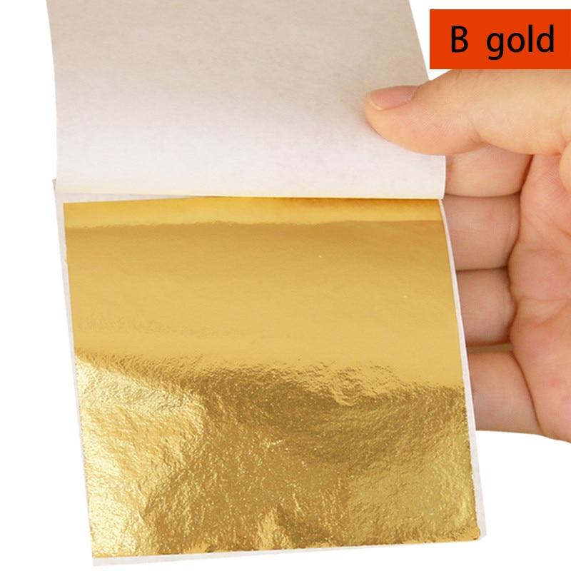 100 Hojas Imitación Oro Plata Cobre Hoja de Papel de Aluminio Dorado Craft