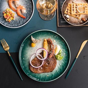 Ceramiczne gradientu okrągły płaski talerz stek danie sałatka Sushi zastawa deserowa zestaw tac zastawa stołowa do kuchni talerz na owoce 6 8 10 Cal tanie i dobre opinie SAFEBET CN (pochodzenie) Stałe ROUND Retail Wholesale dropshipping