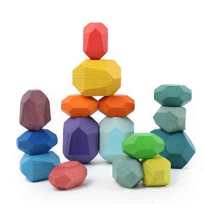 Jengdile Wood Balancing Stones Colorful Stone Educational Decor Toys E0P5