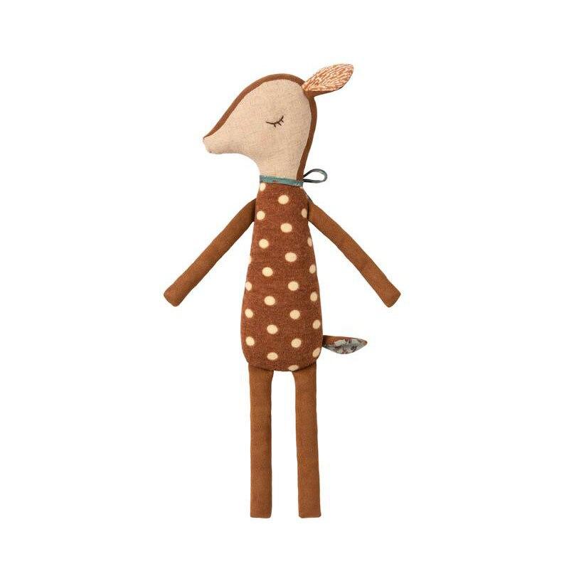 Cute Bambi Deer Doll Plush Toy Boy Girl Birthday Gift Baby Comforts Sleeping Doll In Bed