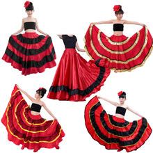 Princess Girls Spanish Flamenco Dance Costumes Skirt Red and Black Gypst Style Ballroom Belly Dance Dress for Kids Girls(China)
