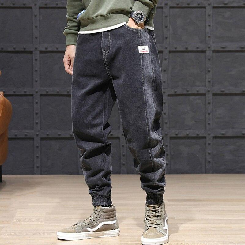 Korean Style Fashion Men Jeans Loose Fit Side Stripe Spliced Denim Cargo Pants Harem Jeans Men Streetwear Hip Hop Joggers Jeans