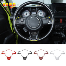 BAWA Interior Mouldings Car Steering Wheel Decoration Pannel Cover Trim Stickers For Suzuki Jimny 2019 2020 Car Styling