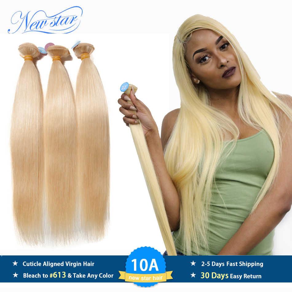 Brasilianische 613 Gerade Reines Haar 3 Bundles Erweiterung Honig Blonde 100% Menschliches Haar Weben Neue Stern Dicke Haar Produkte