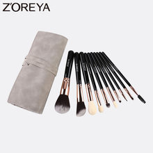 ZOREYA 10 Buah Set Kuas Makeup Hitam Super Rambut Sintetis Yang Lembut Membuat Alat Powder Foundation Eye Shadow Bulu Mata Kecantikan kit(China)