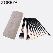 ZOREYA 10Pcs Makeup Brushes Set Black Super Soft Synthetic Hair Make Up