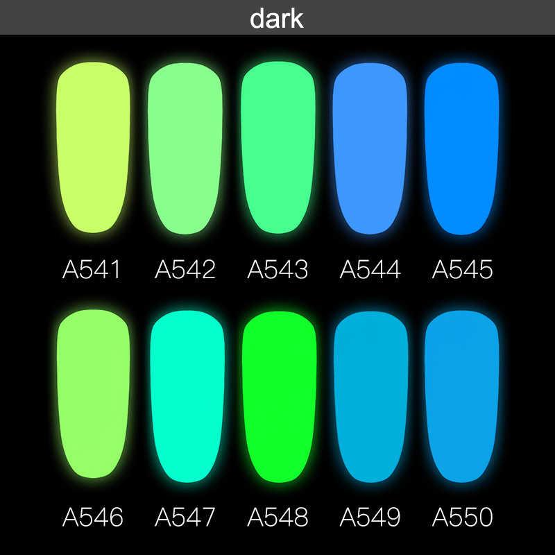 Nieuwe 10 Kleuren Lichtgevende Gel Lichtgevende Kleurrijke Neon Gel Lak Himmer Glitter Gel Lak Semi Permanente Nail Art Gel Lak 7ml
