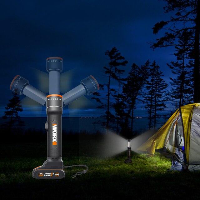WORX 20V LED Light Portable Lanterns WX027 Rechargeable Flashlights LED light Desk Lamp Outdoor lamps for SOS flashlight Lantern
