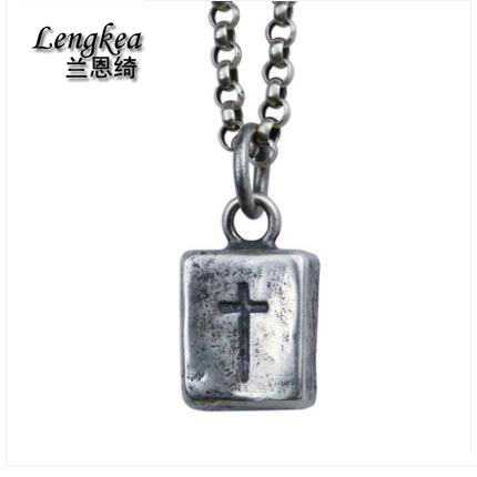 Mode hommes choker 925 en argent sterling brique croix collier vintage pendentif hip-hop bijoux garçons cool personnalité accessoires