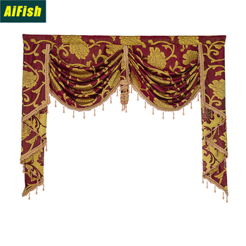Bedroom Window Curtains For Living Dining Room High-Grade Contracted Europe Type Shade Valance Custom Wave Golden Customization image