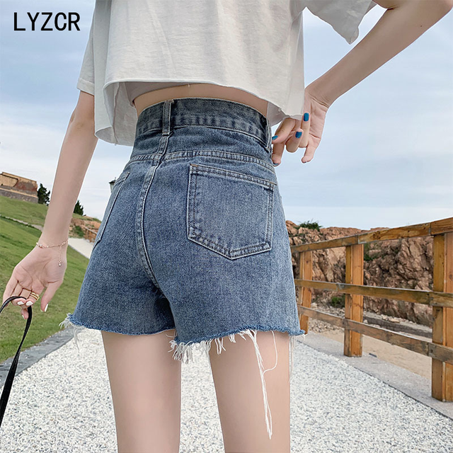 LYZCR Ripped Jeans Shorts Women Summer Loose Denim Wide Leg Shorts For Women with Belt Harem Ladies Jeans Short Causal New 2021 3