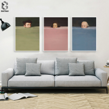 Nórdico abstracto a mano personaje colorido lienzo póster vintage de pintura impresión decoración pared arte cuadros para sala de estar