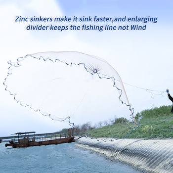 Finefish Cast Net  2.4m/7.87ft Fishing Network Fly USA Hand Throwing Nylon Nest Bottom Zinc Chain For Bait New