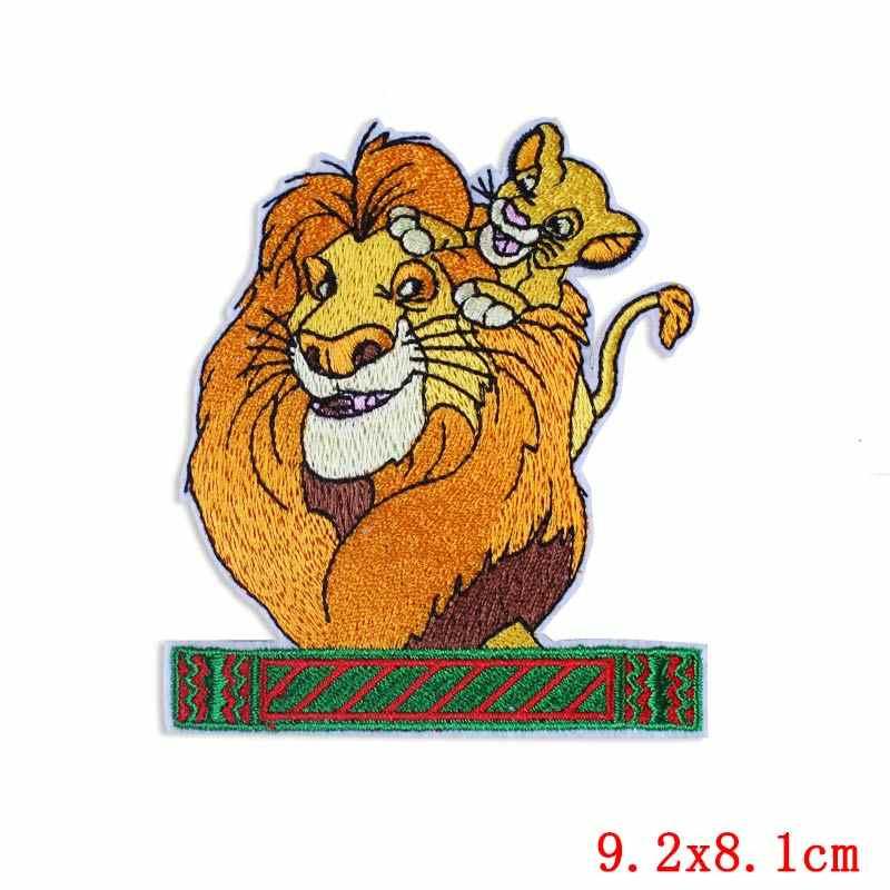 DIY HOOK LOOP Patch Menjahit/Besi Pada Patch Di Pakaian Stripe Kartun Hewan Patch Lion King Patch Bordir untuk Pakaian