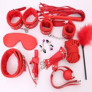 Image 3 - Kits sexuels érotiques BDSM en peluche de cuir noir, rose, puple et rouge, pinces à mamelon, jouets sexuels érotiques pour jeu pour adultes, mains de Bondage