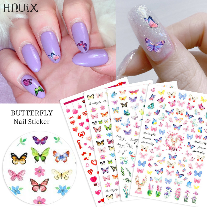 HNUIX 1sheet Nail Sticker Butterfly Flower Water Transfer Decal Sliders For Nail Art Decoration Tattoo Manicure Envelopes Tools