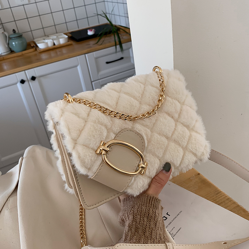 Elegant Female Square Crossbody Bag 2019 Winter New Quality Soft Plush Women's Designer Handbag Chain Shoulder Messenger Bag