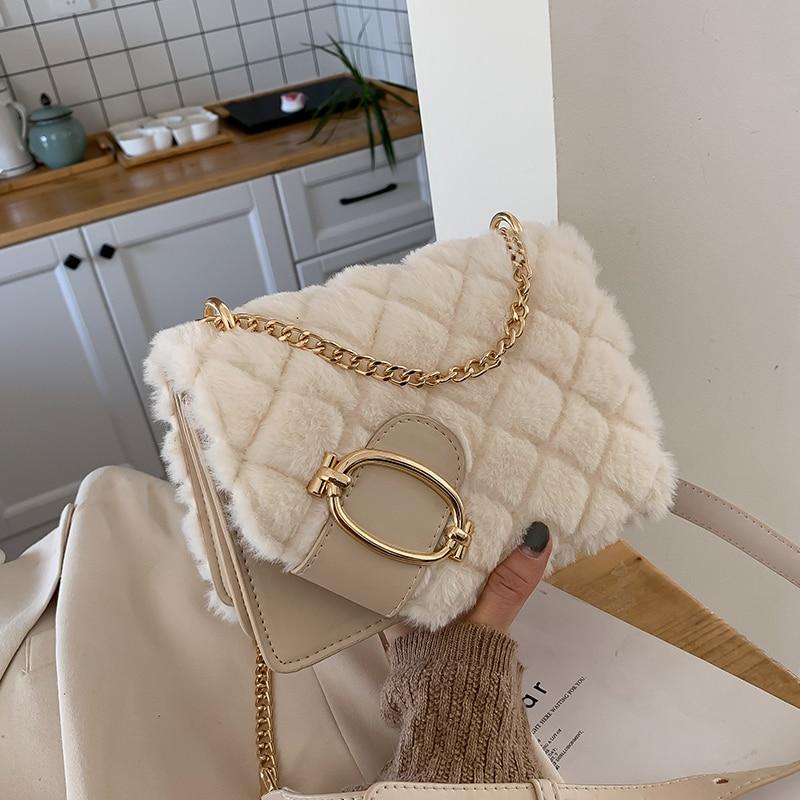 Elegant Female Square Crossbody Bag 2019 Winter New Quality Soft Plush Women's Designer Handbag Chain Shoulder Messenger Bag