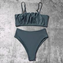 ZTVitality fałdy zielone Bikini 2021 New Arrival seksowne Bikini Push Up pasy usztywniany biustonosz wysokiej talii kostium kąpielowy damski stroje kąpielowe kobiet
