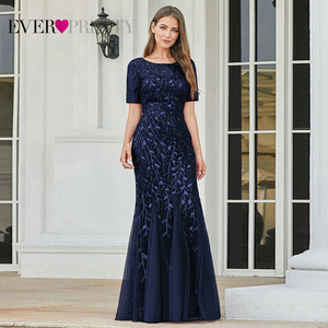 Image 3 - Plus Size Saudi Arabia Prom Dresses 2020 Ever Pretty EZ07707 Short Sleeve Lace Appliques Tulle Mermaid Long Dress Party Gowns