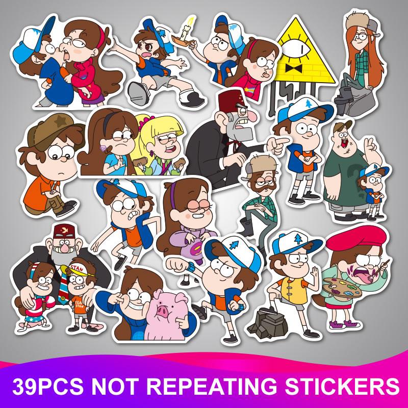 39Pcs/Lot Funny Anime Cartoon Stickers Waterproof Graffiti Sticker Kids Toy Skateboard Luggage Laptop Car Home Decor Decal