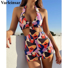 One-Piece Swimsuit Monokini Female Sexy New Cut-Out HALTER Print Women V2807 Colorful