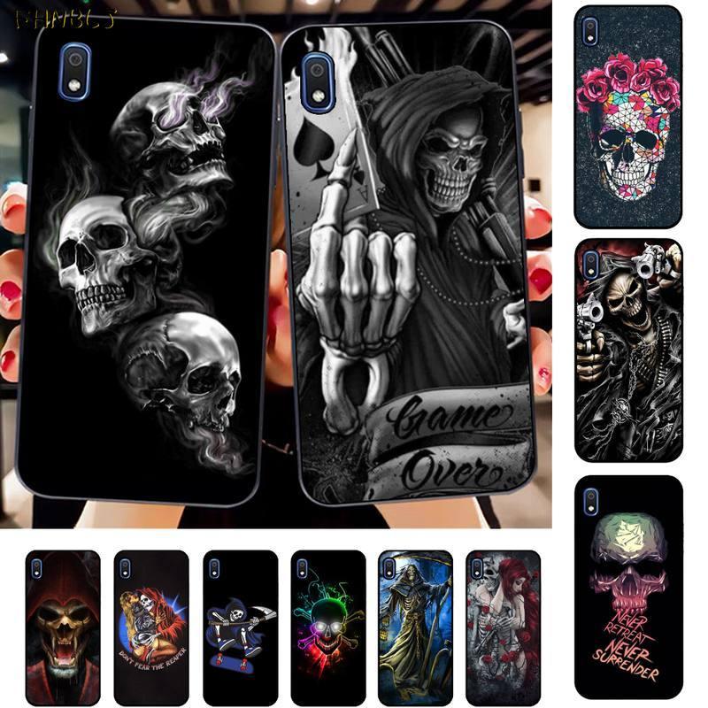 FHNBLJ Grim Reaper Skull Bling Caso Bonito Do Telefone para Samsung A10 20s 71 51 10 s 20 30 40 50 70 80 91 A30s 11 31 21