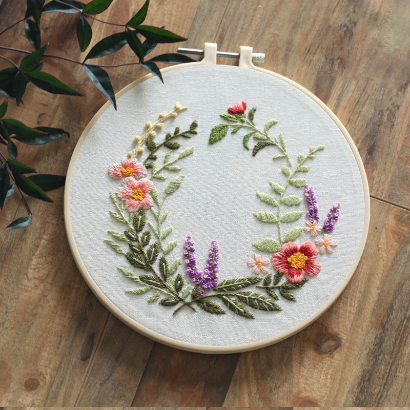 Kill time Circle Embroidery Kit ,Needlework Embroidery, Cross Stitch kits, Embroidery for Beginner, DIY Art Sewing Craft #A