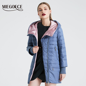 Image 2 - MIEGOFCE 2020 Spring Autumn Jacket With Oblique Cut Bright Womens Jacket Thin Cotton Coat Windproof Warm Knitted Sleeve Jacket