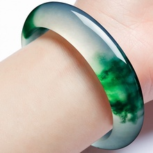 Genuine Natural Green Jade Bangle Bracelet Charm Jewellery Fashion Accessories Hand-Carved Amulet Gifts for Women Her Men