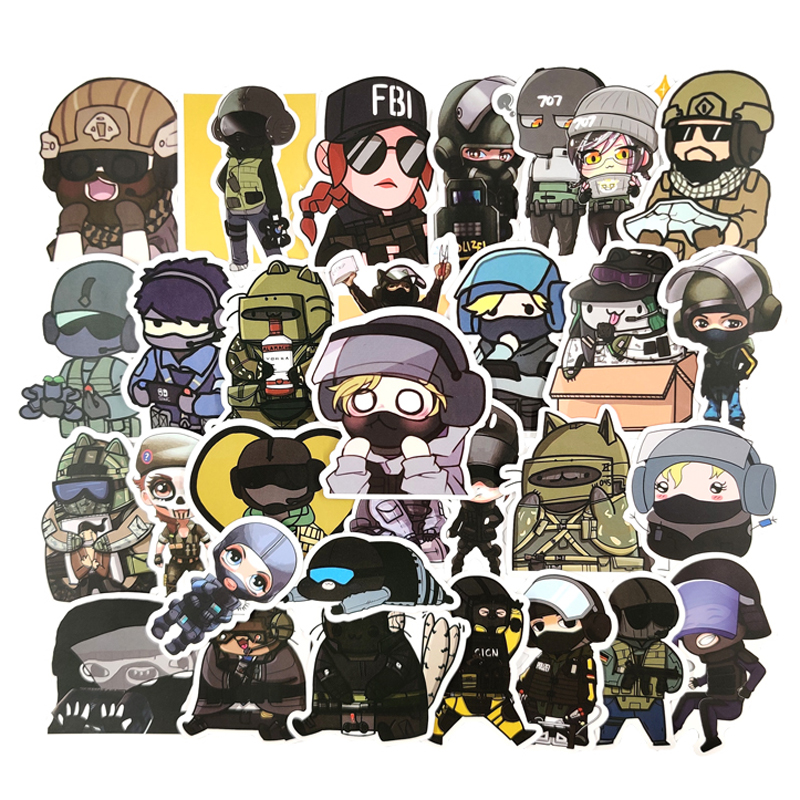 50pcs/pack Popular Games Tom Clancy's Rainbow Six Siege Stickers For Furniture Wall Desk DIY Chair Toy Car Trunk Computer TV Etc(China)
