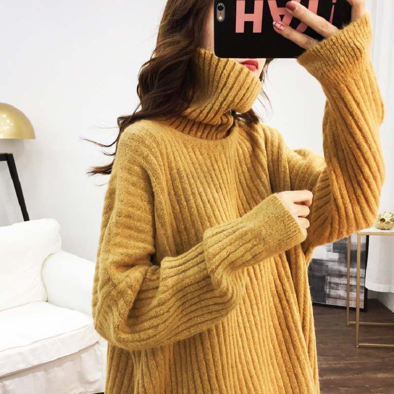 Autumn Wool Blend Turtleneck Knitted Pullovers Sweaters Female Winter 2019 Loose Pull Knitted Sweater Womens Oversized Jumper