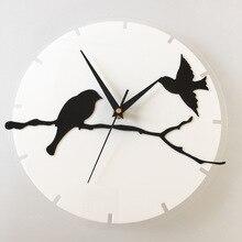 3D acrylic Creative clock wall sticker stereo birds branch digital Clock