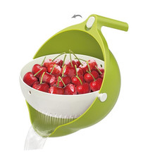 Двойная дренажная корзина, миска для мытья кухни, ситечко для лапши, овощей, фруктов, для хранения июля#25
