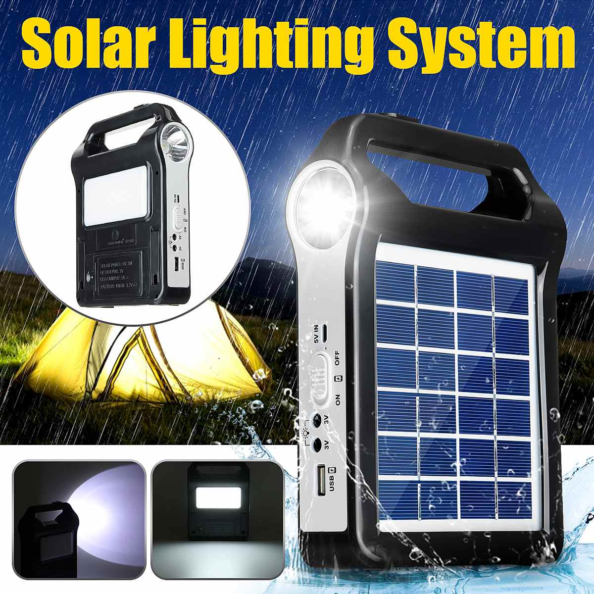 USB Charger 6V Solar Panel Power Storage Generator Home System Kit Rechargeable 9W Portable Solar Generator System