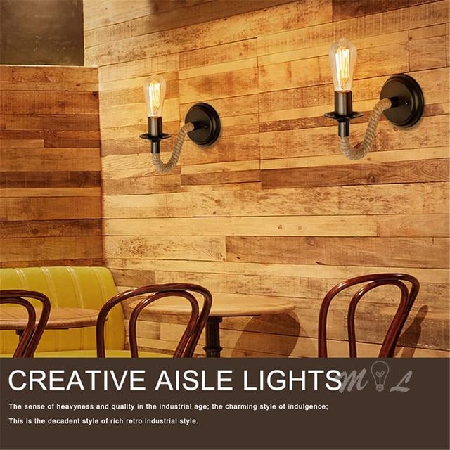 Krajem ameryki liny konopne kinkiet światło retro kinkiet obok życia Loft oświetlenie schody lampka nad lustro kryty kinkiety