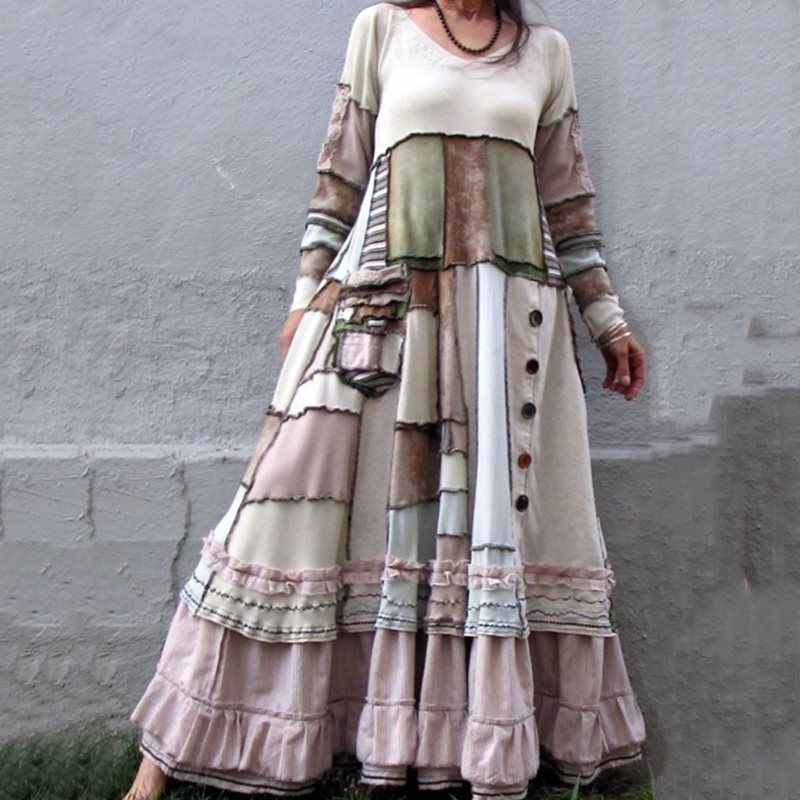 2019 New Women Dresses Autumn Winter Vintage Patchwork Casual Long Sleeve Retro Cotton Maxi Robe Big Plus Size Loose Dress