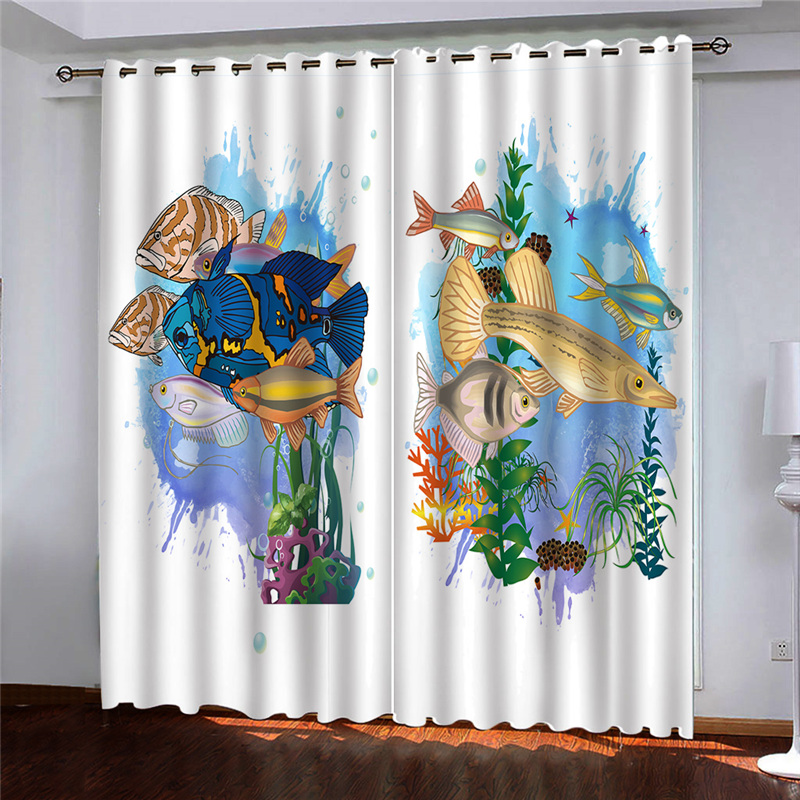 Photo Window Curtain Fish Prited Curtains For Living Room Bedroom Thick Silk Kitchen Door Curtains